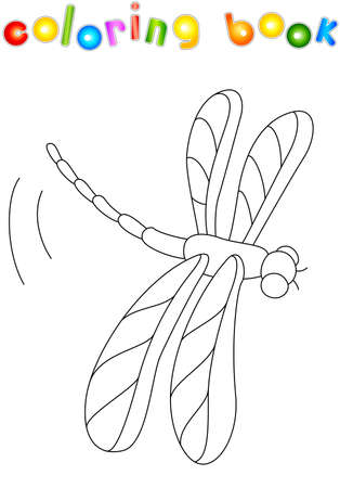 Cartoon Dragonfly Isolated On White. Coloring Book For Kids Royalty ...