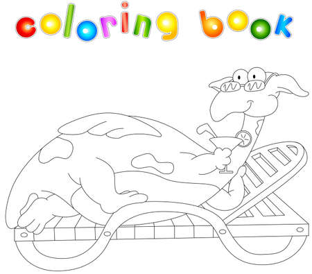 reclining: Cartoon dragon lying on a lounger and drinking a cocktail. Coloring book for kids isolated on white