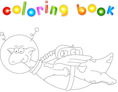 spaceflight: Cartoon dragon astronaut. Coloring book for kids isolated on white