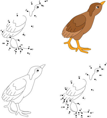poult: Cartoon poult. Coloring book and dot to dot educational game for kids