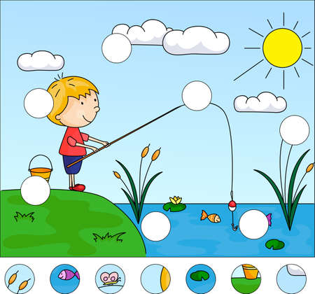 Boy fisherman with fishing rod on the lake. Complete the puzzle and find the missing parts of the picture. Educational game for kids