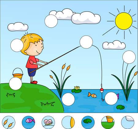 낚시 어 부 호수에 소년 어 부입니다. 퍼즐을 완성하고 그림의 빠진 부분을 찾으십시오. 아이들을위한 교육 게임 일러스트