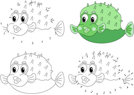 pufferfish: Funny cartoon green pufferfish. Coloring book and dot to dot educational game for kids