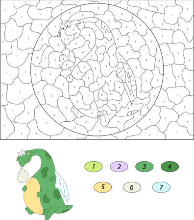 green dragon: The green dragon have a stomach ache. Color by number educational game for kids. Illustration for schoolchild and preschool