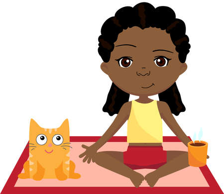 spring balance: African girl doing yoga exercise with cat. Vector cartoon illustration