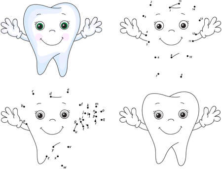 Cartoon tooth smiles. Coloring book and dot to dot educational game for kids