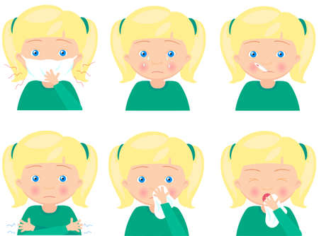 handkerchief: Blond sick girl with flu mask, thermometer and handkerchief. Vector cartoon illustration