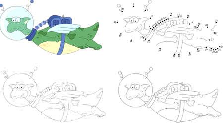 cartoon astronaut: Cartoon dragon astronaut. Dot to dot educational game for kids Illustration