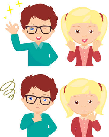 spectacled: Couple of anxious and worried expression and couple of joyful expression. Cartoon illustration Illustration