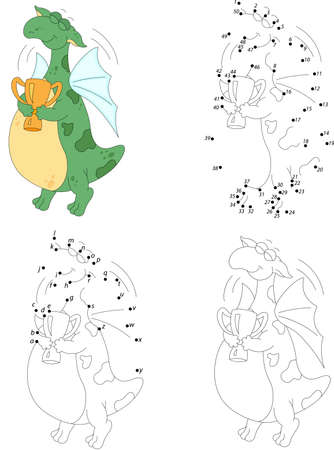 cartoon winner: Cartoon dragon winner with a cup trophy isolated on white. Coloring book and dot to dot educational game for kids Illustration