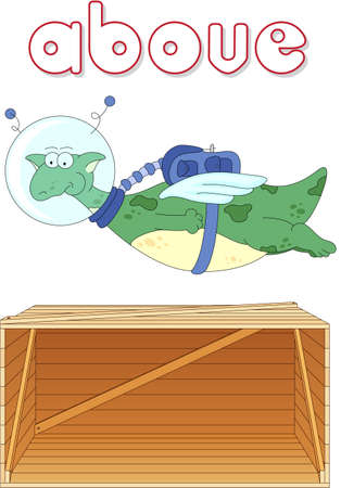 grammatical: Cartoon dragon astronaut flies above the box. English grammar in pictures for students, pupils and preschoolers