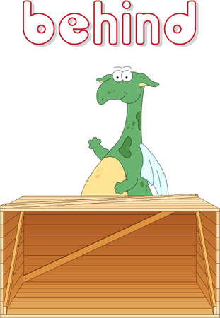 grammatical: Cartoon dragon stands behind the box. English grammar in pictures for students, pupils and preschoolers Illustration