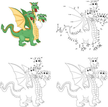 Cartoon funny three headed dragon. Coloring book and dot to dot educational game for kids Illustration