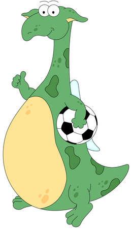 footballer: Cartoon dragon footballer isolated on white