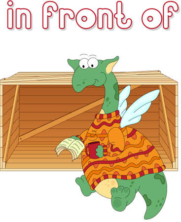among: Cartoon dragon reads a book in front of the box. English grammar in pictures for students, pupils and preschoolers Illustration