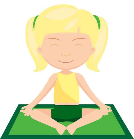 Blond girl doing yoga exercise. Vector cartoon illustration