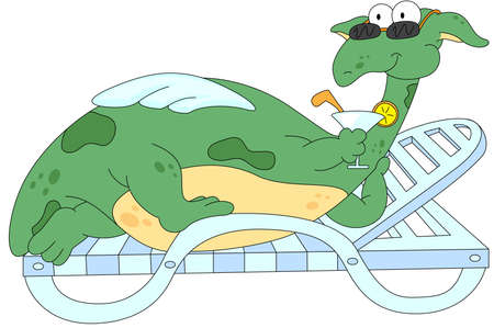 Cartoon dragon lying on a lounger and drinking a cocktail isolated on white