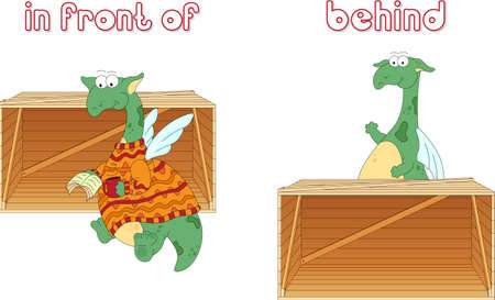 grammatical: Cartoon dragon reads a book in front of the box and stands behind the box. English grammar in pictures for students, pupils and preschoolers Illustration
