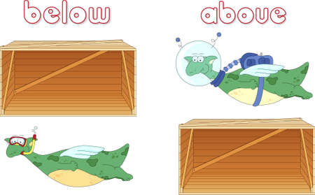 Cartoon dragon diver floats below the box and astronaut flies above the box. English grammar in pictures for students, pupils and preschoolers Illustration