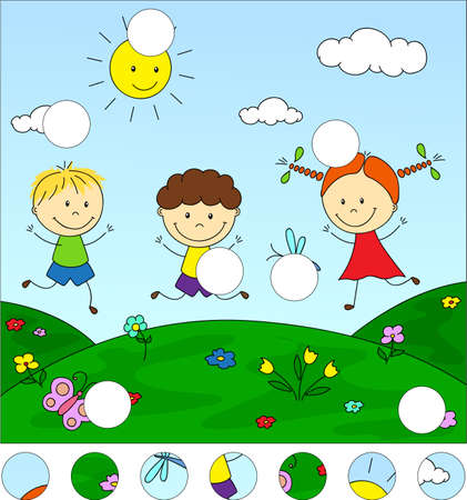 Boys and a girl playing in the meadow. Complete the puzzle and find the missing parts of the picture. Educational game for kids  イラスト・ベクター素材
