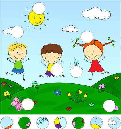 소년과 소녀는 초원에서 연주입니다. 퍼즐을 완성하고 그림의 빠진 부분을 찾으십시오. 아이들을위한 교육 게임
