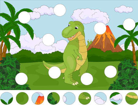 tyrannosaur: Funny cute tyrannosaurus on the background of a prehistoric nature. Complete the puzzle and find the missing parts of the picture. Educational game for kids