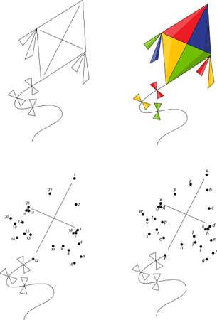 Cometa Colorida De Dibujos Animados. Juego De Colorear Y Juego ...
