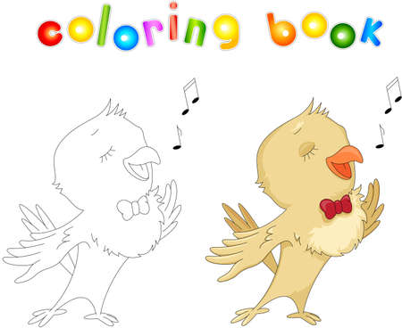 Cartoon nightingale coloring book isolated on white