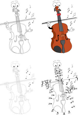 musical score: Cartoon funny violin. Dot to dot educational game for kids