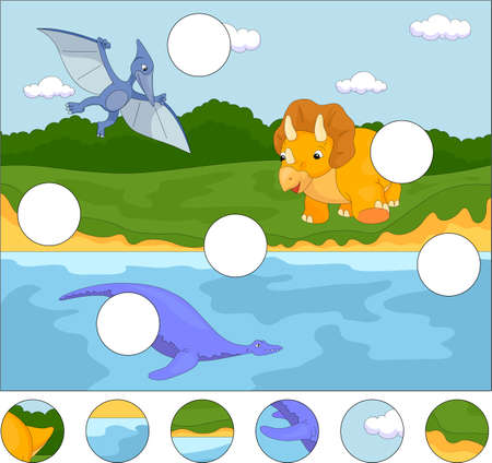 pterodactyl: Funny cute pterodactyl, pliosaur and triceratops. Complete the puzzle and find the missing parts of the picture. Educational game for kids