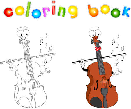 Cartoon violin coloring book isolated on white Illustration