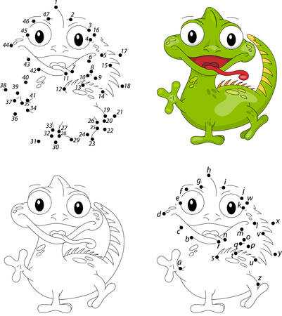 Cartoon iguana. Coloring book and dot to dot educational game for kids Vetores