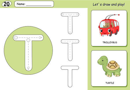 phonetic: Cartoon trolleybus and turtle. Alphabet tracing worksheet: writing A-Z, coloring book and educational game for kids