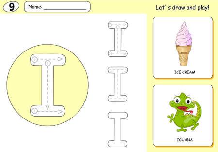 Cartoon Ice Cream And Iguana. Alphabet Tracing Worksheet: Writing ...