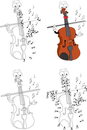 joining the dots: Cartoon funny violin. Coloring book and dot to dot educational game for kids Illustration