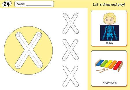 phonetic: Cartoon x-ray boy and xylophone. Alphabet tracing worksheet: writing A-Z, coloring book and educational game for kids