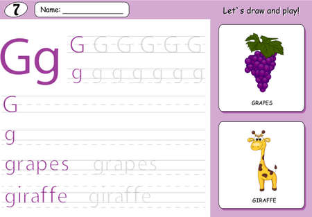 Cartoon grapes and giraffe. Alphabet tracing worksheet: writing A-Z, coloring book and educational game for kids Illustration