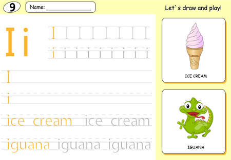 phonetic: Cartoon ice cream and iguana. Alphabet tracing worksheet: writing A-Z, coloring book and educational game for kids