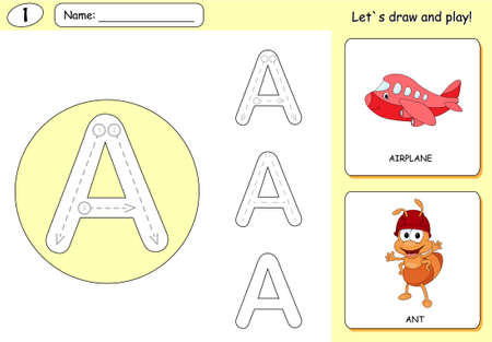 phonetic: Cartoon ant and aircraft. Alphabet tracing worksheet: writing A-Z, coloring book and educational game for kids