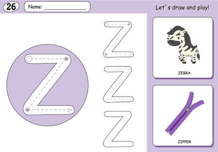 phonetic: Cartoon zebra and zipper. Alphabet tracing worksheet: writing A-Z, coloring book and educational game for kids Illustration