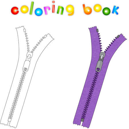 Cartoon zipper. Coloring book for kids Illustration