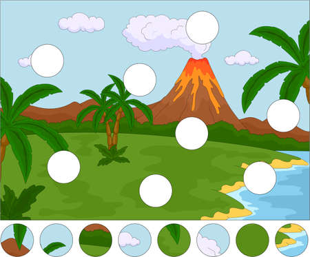 volcanic: Volcanic eruption. Complete the puzzle and find the missing parts of the picture. Educational game for kids Illustration