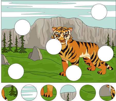 saber tooth: Cartoon saber-toothed tiger on the background of a prehistoric nature. Complete the puzzle and find the missing parts of the picture. Educational game for kids