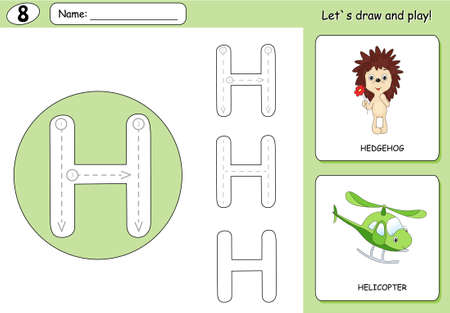 phonetic: Cartoon hedgehog and helicopter. Alphabet tracing worksheet: writing A-Z, coloring book and educational game for kids