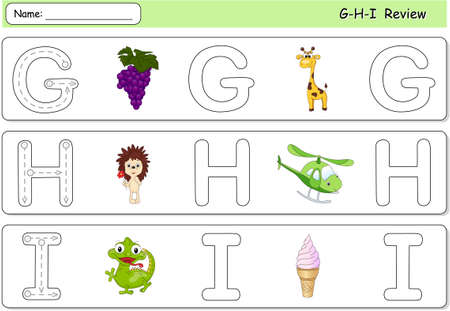 Cartoon grapes, giraffe, hedgehog, helicopter, ice cream and iguana. Alphabet tracing worksheet. G-H-I Review Ilustração