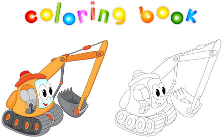 Funny cartoon excavator. Coloring book for kids  イラスト・ベクター素材