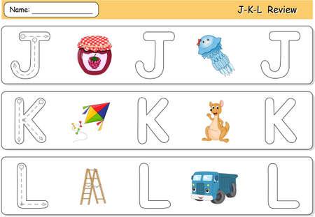 phonetic: Cartoon jellyfish, jam, kite, kangaroo, lorry and ladder. Alphabet tracing worksheet. J-K-L Review