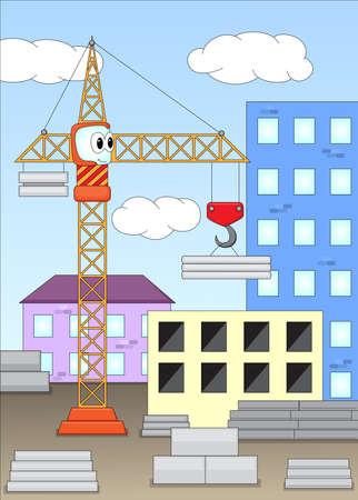 Funny cartoon crane