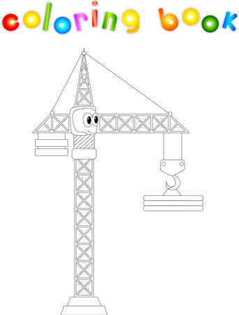 dig up: Funny cartoon crane. Coloring book for kids