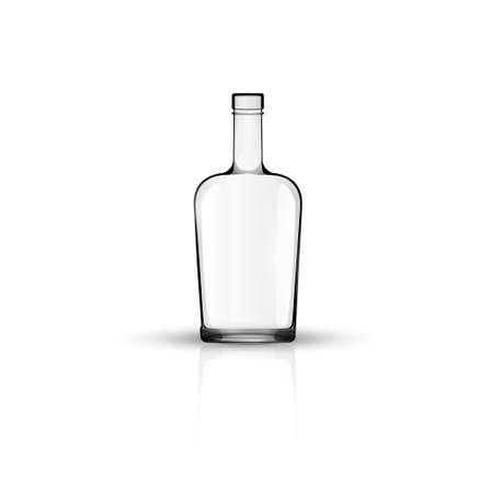 흰색에 고립 된 빈 유리 병